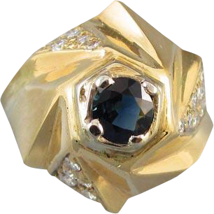 Vintage modernism 14k diamond blue sapphire geometric pinwheel dome statement ring, size 6-1/4