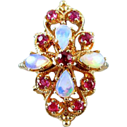 Vintage estate 14k gold opal ruby statement cocktail ring, size 6-1/2