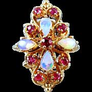 Vintage estate 14k gold opal ruby statement cocktail ring, size 6-1/2