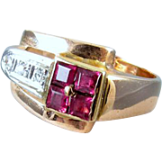 Vintage Art Deco Retro Moderne 14k rose gold and platinum ruby and diamond ring