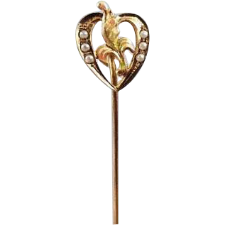 Antique Edwardian Art Nouveau 10k gold seed pearl enamel heart stick pin / stickpin / lapel pin / tie pin / tie tack / brooch