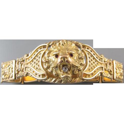 Signed Bates and Bacon Art Nouveau Edwardian lion head figural bracelet
