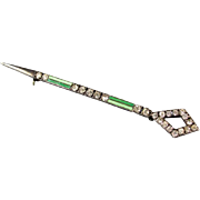 Vintage Art Deco sterling silver green enamel rhinestone septer baton or spear brooch bar pin