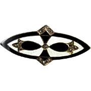 Vintage early Art Deco sterling silver white guilloche and black taille de epargne enamel rhinestone paste brooch pin