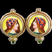 Vintage Art Deco Egyptian Revival 14k enamel portrait brooch pin