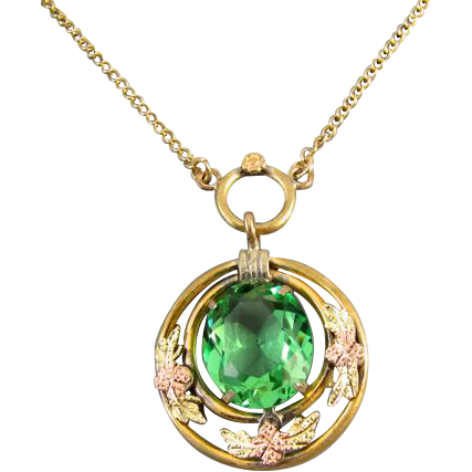 Vintage Art Deco signed JJ White multicolor gold filled green peridot glass pendant necklace j318