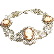 Vintage Italian 800 silver cameo cannetille filigree bracelet extremely high quality beautiful shell carving
