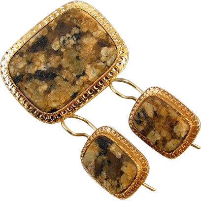 Antique Edwardian 14k gold brown agate hardstone demi parure brooch pin and pierced locking kidney wire earrings