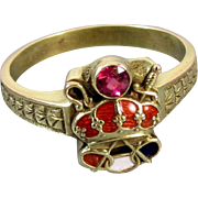 Mans antique Edwardian 14k green gold enamel ruby crown Army of the Crown Odd Fellows ring Patriarchs Militant Canton Chevalier, size 9.5