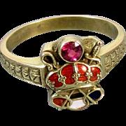 Mans antique Edwardian 14k green gold enamel ruby crown Army of the Crown Odd Fellows ring Patriarchs Militant Canton Chevalier, size 9.5