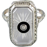 Vintage Art Deco 14k white gold filigree camphor glass black onyx and diamond ring signed Morris Rubin