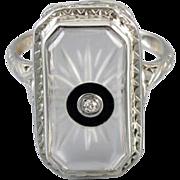 Vintage Art Deco 14k white gold filigree camphor glass black onyx and diamond ring signed Morris Rubin