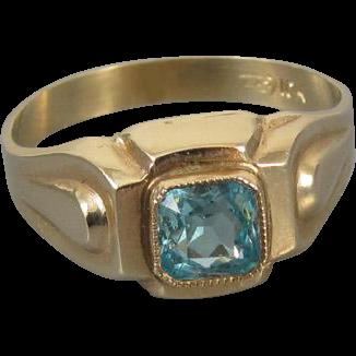 Vintage Art Deco 10k gold blue zircon ring size 5