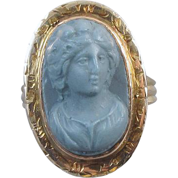 Very rare antique mid Victorian 14k rose gold blue lava cameo ring very high relief, size 6