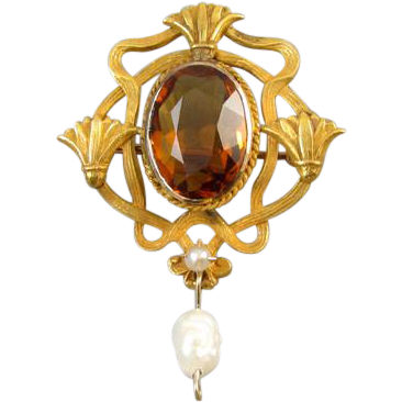 Antique Edwardian Art Nouveau 14k bloomed gold 2.86 carat golden citrine and pearl Three Tassel brooch pin
