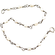 Delicate sterling silver seed pearl vintage rosary bead bracelet
