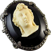 Antique Victorian sterling silver marcasite cameo brooch pin