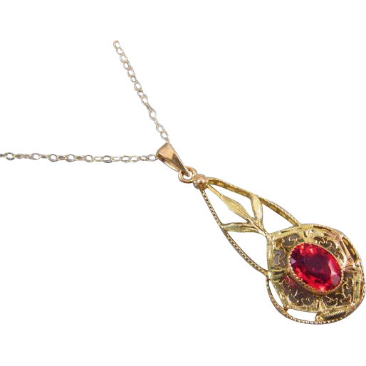 Antique Edwardian 10k gold filigree glass ruby paste lavalier pendant necklace