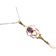 Vintage estate 10k gold glass amethyst paste lavalier pendant necklace with fresh water pearl drop