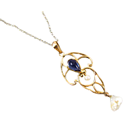 Antique Edwardian 10k gold filigree glass sapphire paste and pearl lavalier pendant necklace signed EL Spencer