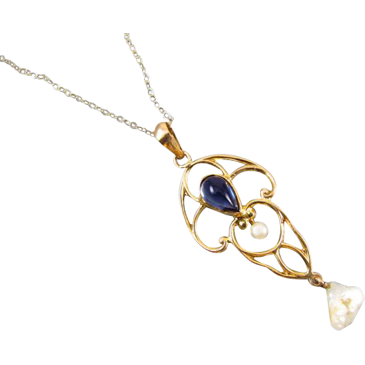 Antique Edwardian 10k gold filigree glass sapphire paste and pearl lavalier pendant necklace signed EL Spencer