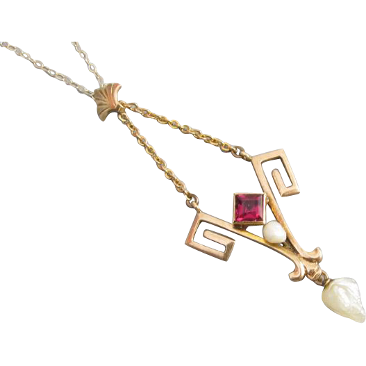 Antique Edwardian 10k gold glass ruby paste and pearl Greek Key lavalier pendant necklace