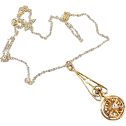 Antique Edwardian 10k gold buttercup setting diamond and pearl lavalier pendant necklace