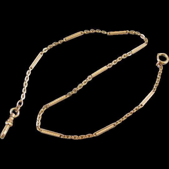 Vintage Art Deco gold filled bar link pocket watch vest chain signed Forstner