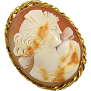 Antique Edwardian gold filled cameo brooch pin Psyche butterfly wings