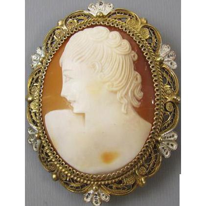 Antique Edwardian heavily gilt 800 silver cameo brooch pin pendant