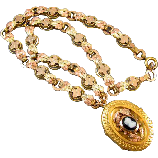 Antique mid Victorian chunky tri color book chain necklace with sardonyx hardstone cameo locket pendant