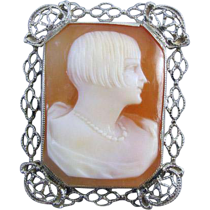 Vintage Art Deco 14k white gold filigree flapper girl roaring 20s 1920s cameo brooch pin