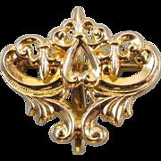 Antique Edwardian ornate gold filled brooch pin watch pin fleur de lis and heart