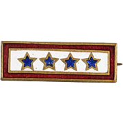 Vintage WW2 military sweetheart four star 4 sons in service enamel brooch pin lapel pin