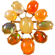 Vintage estate 14k gold Mexcian jelly and fire opal satellite broch pin