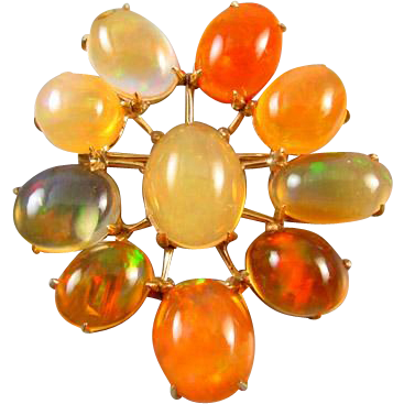 Large vintage estate modernism / retro moderne / 14k jelly and fire opal satellite brooch pin / Sputnik / mid century / space age