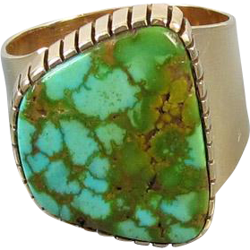 Vintage Southwest Native American Indian 14k gold wide cigar band ring with large turquoise in matrix 1978