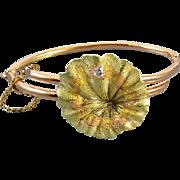 Antique Art Nouveau Edwardian 14k rose and green gold diamond lily pad bracelet