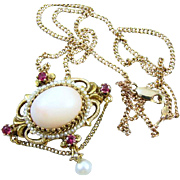 Vintage estate 14k gold pink angel skin coral garnet pearl chained festoon pendant necklace brooch pin