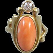 Antique Art Nouveau Edwardian peach coral Euro cut .20 carat diamond 14k gold PINKY or MIDI ring