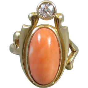 Antique Art Nouveau Edwardian peach coral Euro cut .20 carat diamond 14k gold PINKY or MIDI ring
