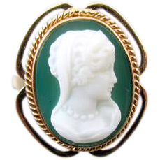 Vintage estate 14k gold green agate hardstone cameo ring, signed Church and Company