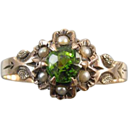 Antique mid Victorian 9K 9CT rose gold seed pearl green doublet ring