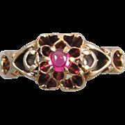 Antique Edwardian 10k gold syn. ruby cabochon ring size 5-3/4