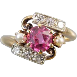 Antique Edwardian syn. pink sapphire 14k yellow and white gold diamond and seed pearl ring size 4.5