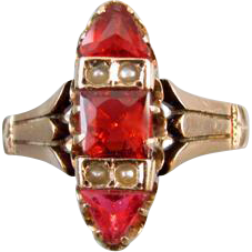 Antique Victorian 10k rose gold ruby paste and seed pearl engraved CLARA ring size 6-3/4