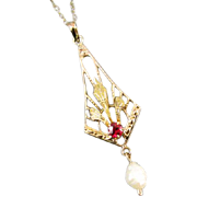 Antique Edwardian 10k yellow and green gold glass ruby paste and pearl lavalier pendant necklace