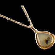 Antique Edwardian 10k gold moss agate eye lash tear drop pendant necklace