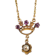 Tiny antique Edwardian 10k gold amethyst and pearl crown tiara and tulips lavalier pendant necklace