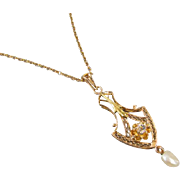 Antique Edwardian 10k yellow and green gold glass paste and pearl lavalier pendant necklace